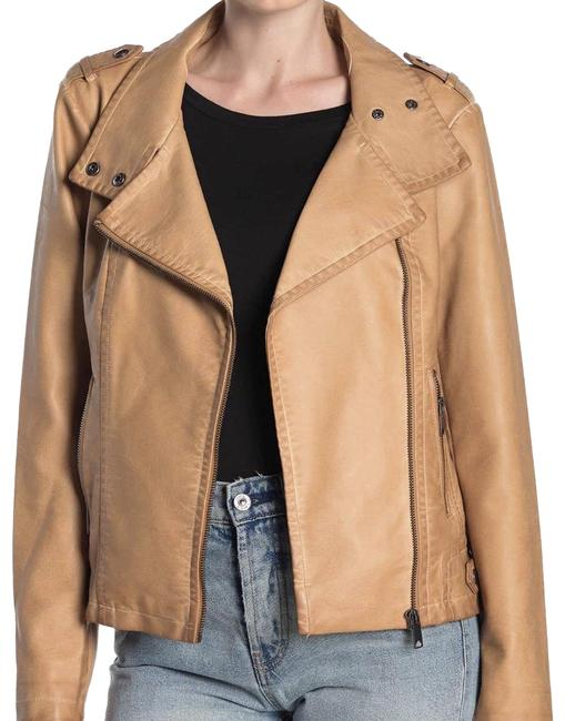 Item - Tan Asymmetrical Faux Leather Moto Jacket Size 14 (L)