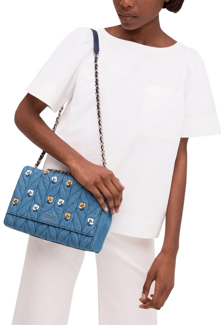 Item - | Briar Lane Quilted Denim Appliqué Emelyn Blue Yellow Silver Material Shell: Cotton Trim: Leather Lining: Polyester Shoulder Bag