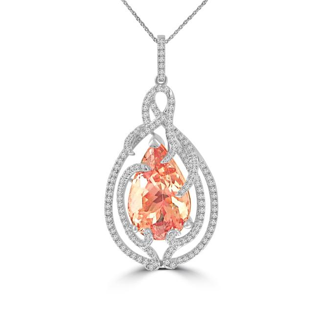 Item - 14k Rose Gold 8.62 Ct Round Cut Diamond Pear Shaped Morganite Pendant Necklace