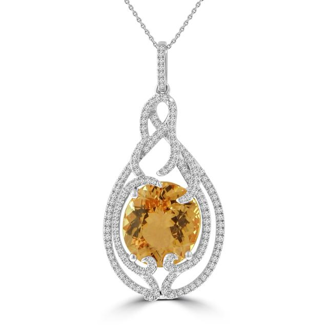 Item - 14k Rose Gold 6.69 Ct Round Cut Diamond Oval Shape Morganite Pendant Necklace