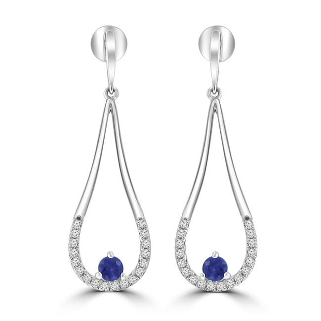 Madina Jewelry 14k White Gold 0.76 Ct Round Cut Diamond and Round Cut Sapphire Chandelier Earrings Madina Jewelry 14k White Gold 0.76 Ct Round Cut Diamond and Round Cut Sapphire Chandelier Earrings Image 1