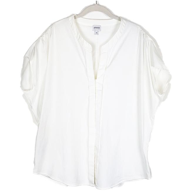 Armani Collezioni White Sleeve Pleated Placket Cotton Blouse Size 16 (XL, Plus 0x) Armani Collezioni White Sleeve Pleated Placket Cotton Blouse Size 16 (XL, Plus 0x) Image 1