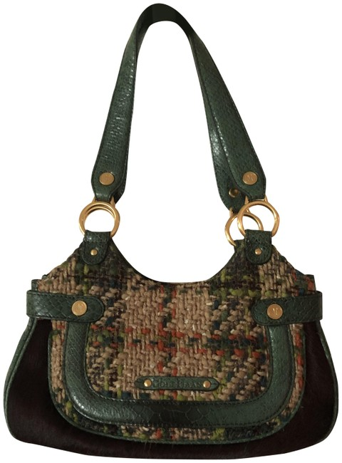 Item - Bucket Stephanie Boucle-small Green and Tan Leather Baguette