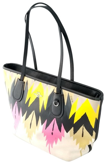 Item - Taxi Zip Top Indian Print 36361 Multicolor Leather Tote