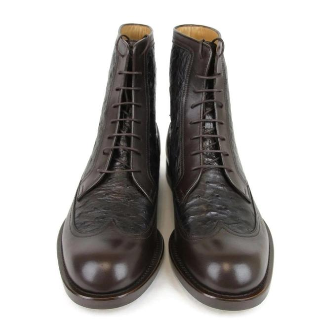 Item - Brown 322508 Men's Ostrich Leather Lace-up Ankle Boots/Booties Size US 8 Regular (M, B)