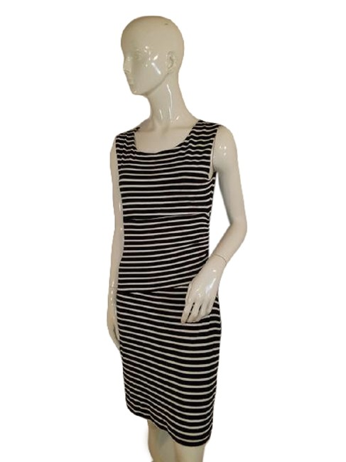 Item - Black White Sleeveless and Striped ( Sku 000 Mid-length Cocktail Dress Size 6 (S)
