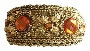Vintage look Cuff bracelet with Topaz colored stones