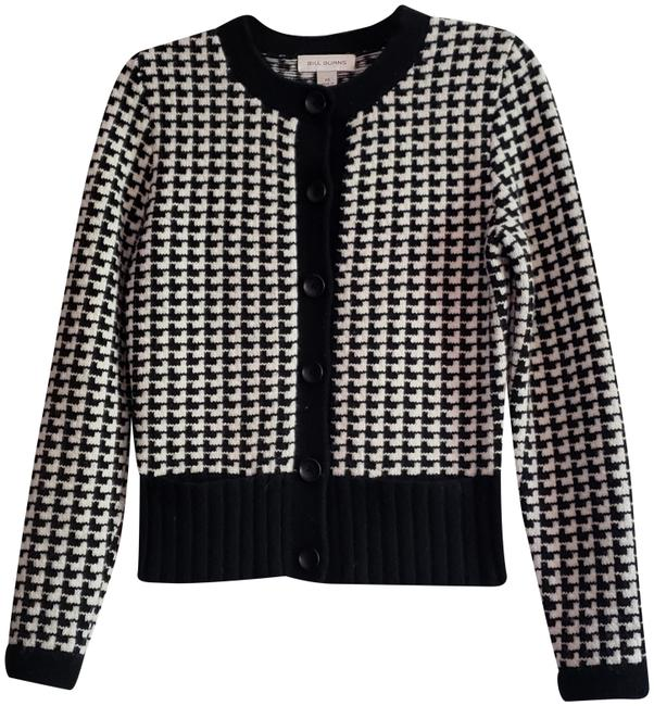 Item - Button Front Classic Sophisticated Dressy Casual Jacket Type Black & White Wool Sweater