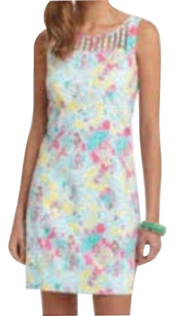 Item - Blue and Yellow Camden Sheath In The Beginning Print Short Cocktail Dress Size 2 (XS)