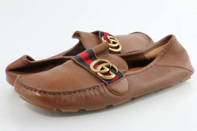 Item - Brown Leather Drive with Web Double G Shoes