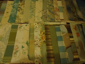 Laura Ashley Teal Tan Taupe Ivory 35 Pieces Designer Fabric Swatches/Bunting Reception Decoration