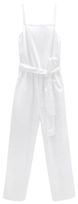 Item - White With Belt Spaghetti Straps Side Pockets Color Size M New. Romper/Jumpsuit