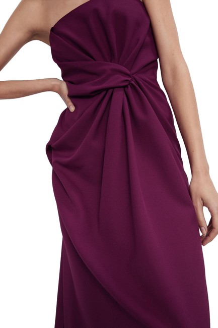 Item - Burgundy XS Midi Strapless Draped Detail Color New. Long Night Out Dress Size 2 (XS)