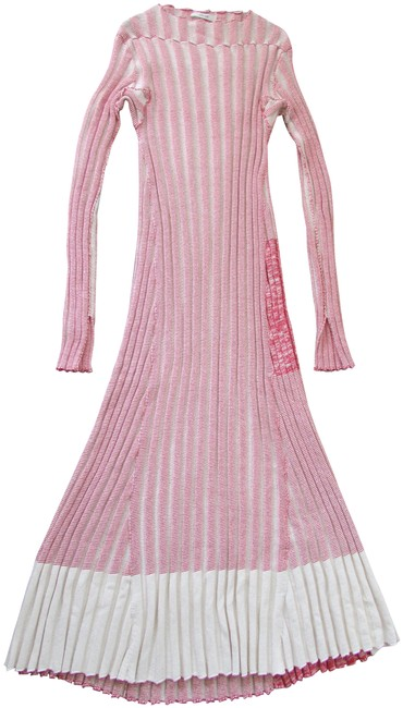 Item - Two Toned Red Ivory Ribbed Knit Sweater Long Casual Maxi Dress Size 8 (M)