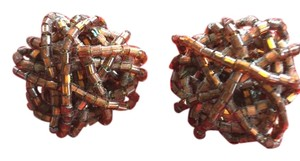 Other Woven. wrapped bead clip on earrings