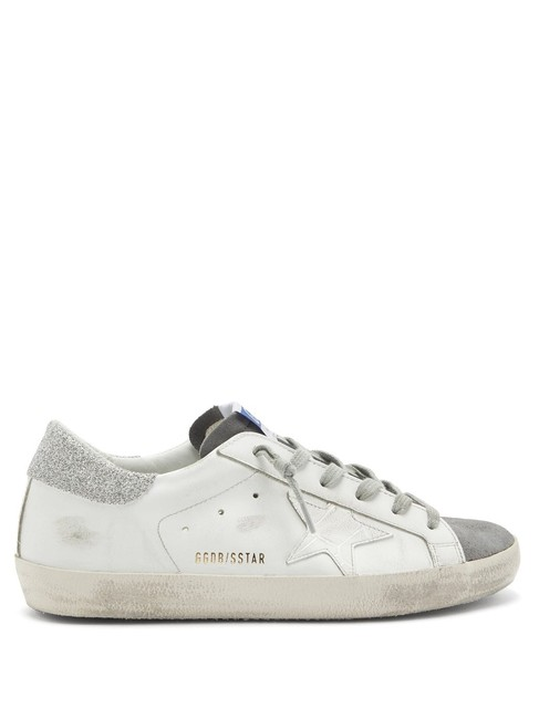 Item - White Mf Superstar Glitter-panelled Leather Trainers Sneakers Size EU 39 (Approx. US 9) Regular (M, B)