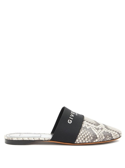 Givenchy Grey Bedford Mf Python-effect Leather Mules/Slides Size EU 38.5 (Approx. US 8.5) Regular (M, B) Givenchy Grey Bedford Mf Python-effect Leather Mules/Slides Size EU 38.5 (Approx. US 8.5) Regular (M, B) Image 1