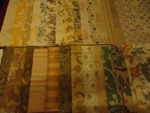 Laura Ashley Ivory Tan Gold Olive Blue 37 Designer Fabric Samples Reception Decoration