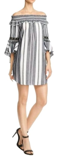 Item - Black White Off-the-shoulder Ruffled Striped Short Cocktail Dress Size 8 (M)