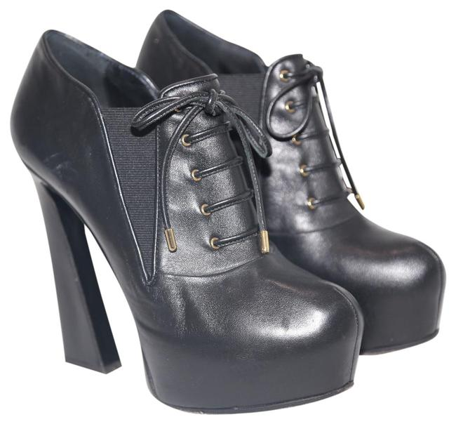 Item - Black Leather Lace Up Platform Heels Boots/Booties Size US 8 Regular (M, B)