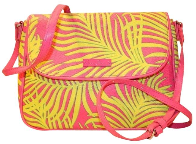 Item - Crossbody Nwot Tropical Palm Frond Leaves Neon Pink-green-yellow Vegan/Faux Leather Messenger Bag