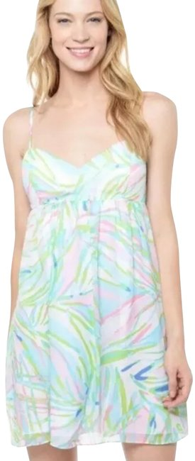 Item - White Pink Green Blue Silk Sky Cut-out Spaghetti Strap Short Casual Dress Size 4 (S)