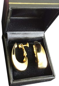 Vintage Napier Mid Century Modern Goldtone Hoop Earrings
