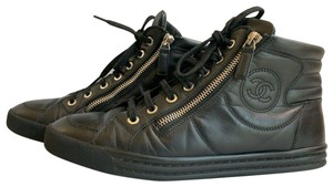 CHANEL High Top Lace Up Leather Quilted Black Athletic