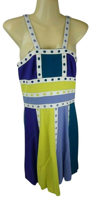 Item - Multicolor Green Purple Yellow White Mid-length Short Casual Dress Size 4 (S)
