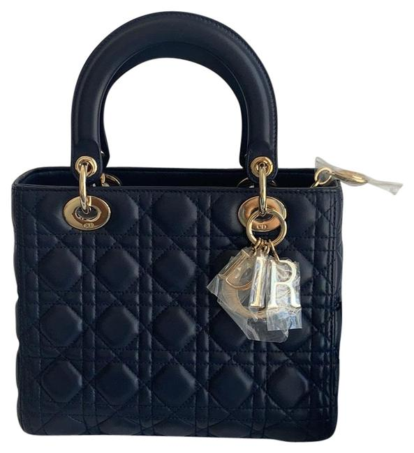 Item - Lady Quilted Medium Navy Lambskin Leather Cross Body Bag