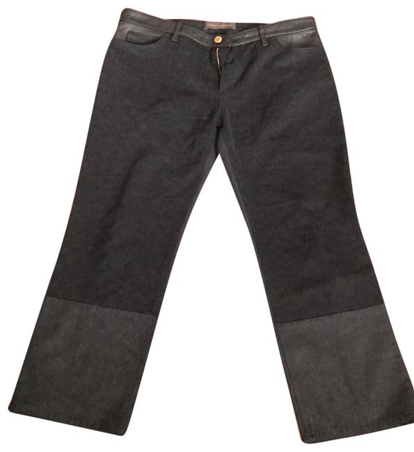 Item - Black Dark Rinse Denim and Leather Straight Leg Jeans Size 10 (M, 31)