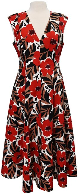 Item - Red & Tan Floral Long Casual Maxi Dress Size 10 (M)