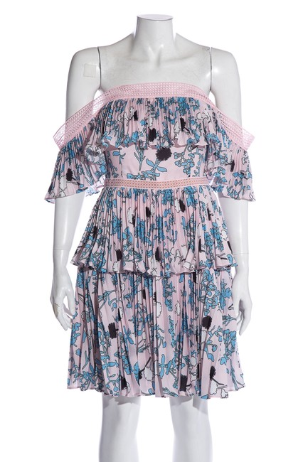 Item - Multicolor Light Pink & Blue Floral Print Off-the-shoulder Short Cocktail Dress Size 6 (S)