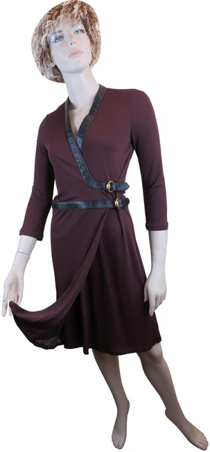 Item - Red New Wool Maroon Leather Sleeves Gold Buckles Belted 38 Italy Mid-length Cocktail Dress Size 8 (M)