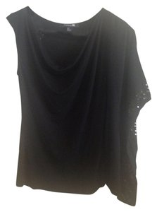 Forever 21 Sequin Assymetrical Cowl Neck Top Black