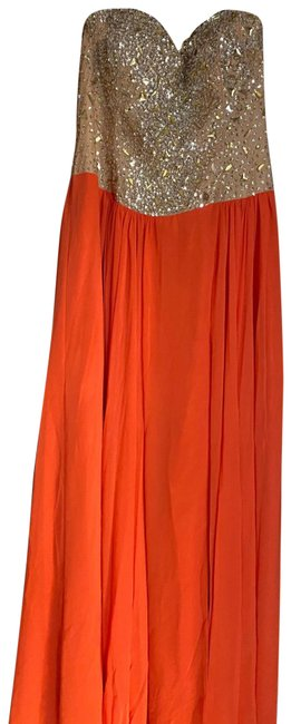 Terani Couture Coral/Peach Long Formal Dress Size 14 (L) Terani Couture Coral/Peach Long Formal Dress Size 14 (L) Image 1