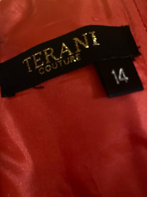 Terani Couture Coral/Peach Long Formal Dress Size 14 (L) Terani Couture Coral/Peach Long Formal Dress Size 14 (L) Image 4
