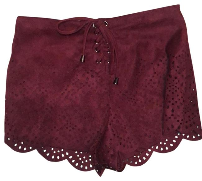 Item - Wine Perforated Suede Feel Shorts Size 0 (XS, 25)