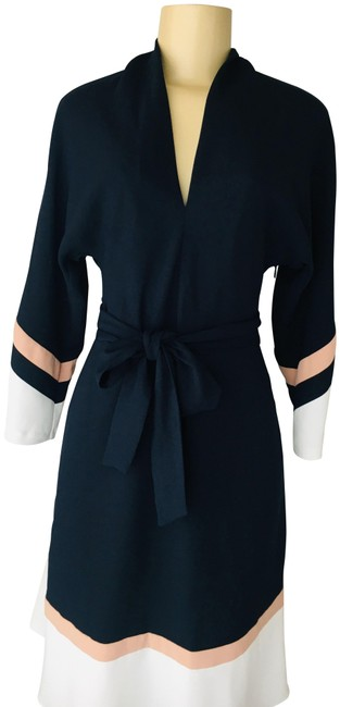 Joie Blue Aydrien Navy Colorblock Cady Midi Belted A-line Mid-length Work/Office Dress Size 6 (S) Joie Blue Aydrien Navy Colorblock Cady Midi Belted A-line Mid-length Work/Office Dress Size 6 (S) Image 1