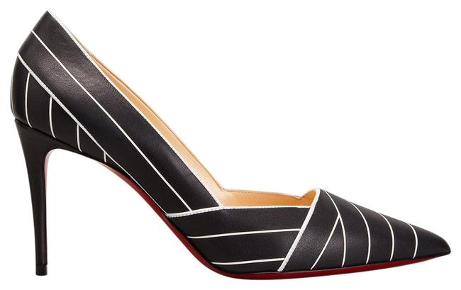 Item - Black/White Undessin 85 Striped Pointed Toe Art Deco Pumps Size EU 37 (Approx. US 7) Regular (M, B)