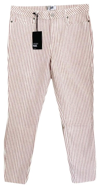 Item - Pink and White Hoxton Waist Raw Hem Ankle Striped Skinny Jeans Size 32 (8, M)