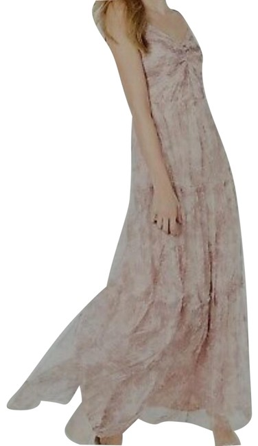 Item - Printed Pink Ruched Chiffon Gown Long Formal Dress Size 16 (XL, Plus 0x)