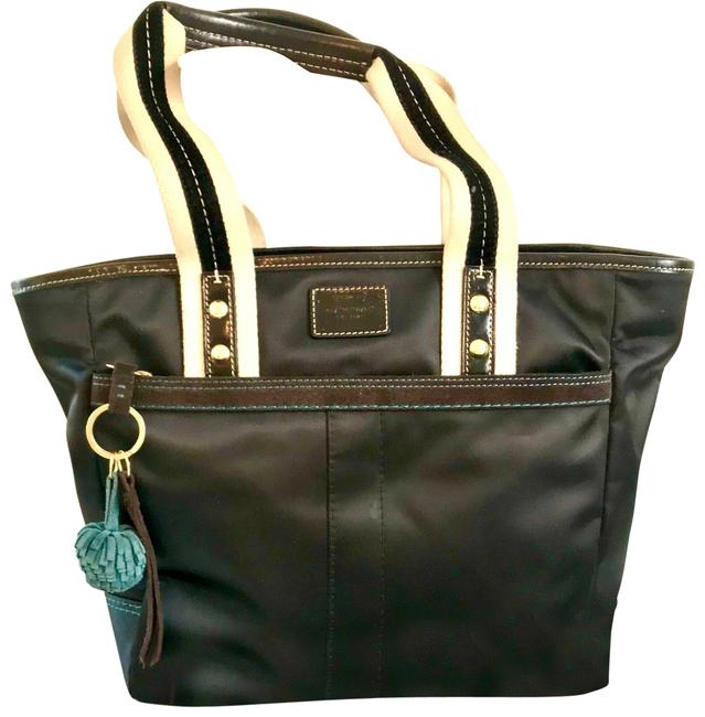 Item - Iconic Summer Brown Nylon with Blue Accents Satchel
