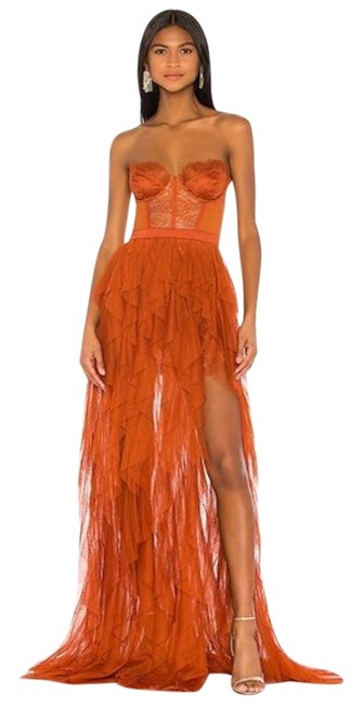 Item - Orange Bustier Gown Tulle Ruffle Rust Long Cocktail Dress Size 0 (XS)