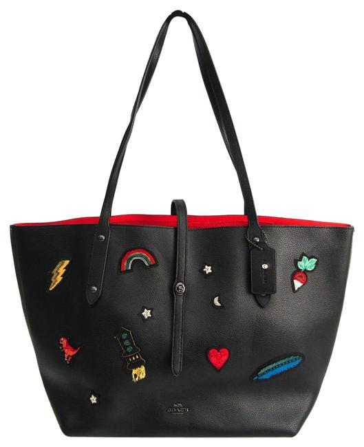 Item - Bag Market Polished Pebble with Souvenir Embroidered 57077 Women's Black / Multi-color Leather Tote