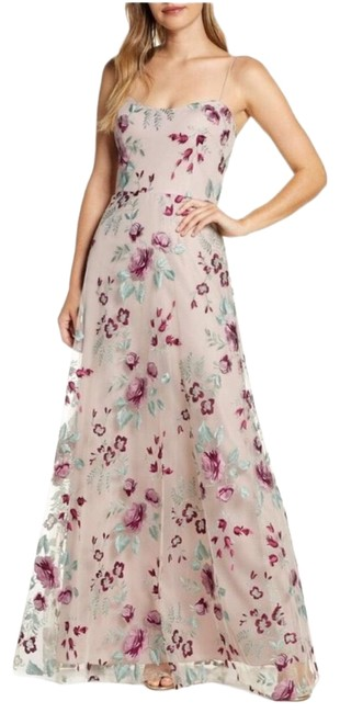Item - Pink Drew Embroidered Tulle Long Formal Dress Size 6 (S)
