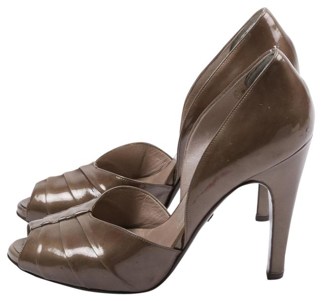 Item - Olive Green Patent Leather Cut Out Peep Toe Pumps Size US 7 Regular (M, B)