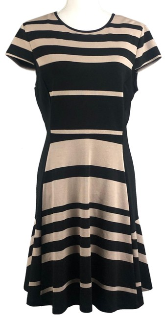 Item - Black and Tan Fit N Flare Mid-length Night Out Dress Size 12 (L)