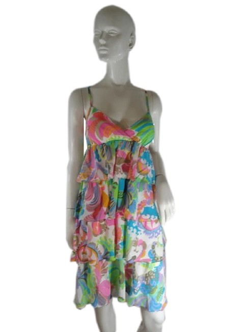 Item - Pink White Green Multicolored Print (Sku 000237-9) Mid-length Formal Dress Size 8 (M)