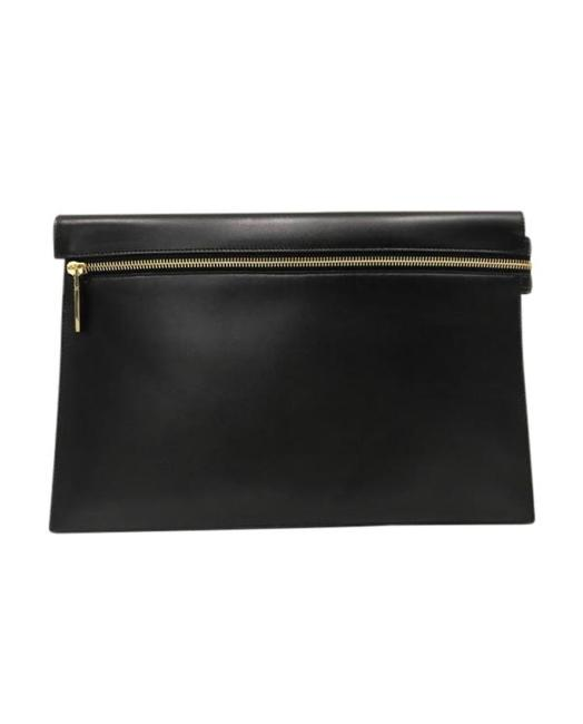 Item - Large Zip Pouch Black Calfskin Leather Clutch